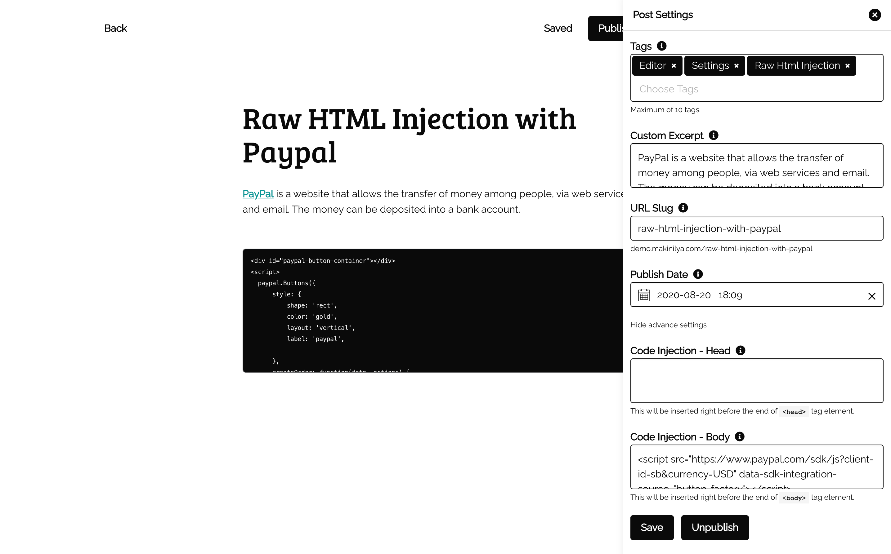Raw HTML Injection with Paypal